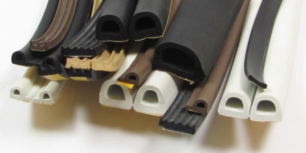 Ассортимент резиновых уплотнителей с клеевой полосой на изнанке