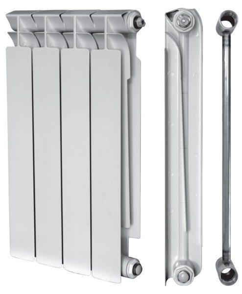 Биметаллический секционный радиатор: прочный стальной сердечник и алюминиевое оребрение, увеличивающее теплоотдачу.