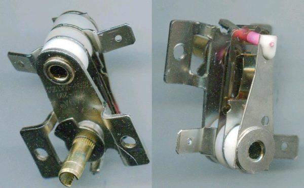 Биметаллический терморегулятор. Изгиб спаянной из двух металлов пластины размыкает и замыкает цепь питания ТЭНа.