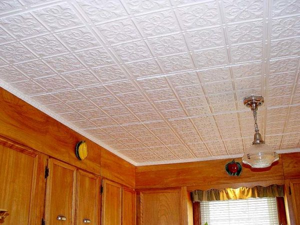 Для покраски потолочной плитки на кухне следует использовать влагостойкую краску