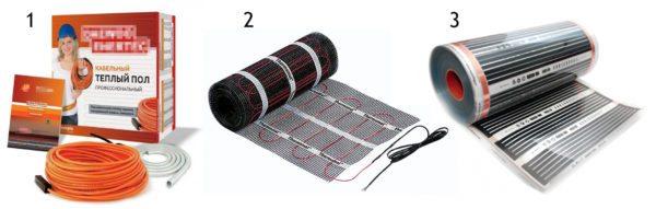Электрические системы теплых полов продаются в виде отдельного греющего кабеля, в виде кабеля закрепленного на сетчатой основе и в виде полимерной пленки с полупроводниковым напылением.