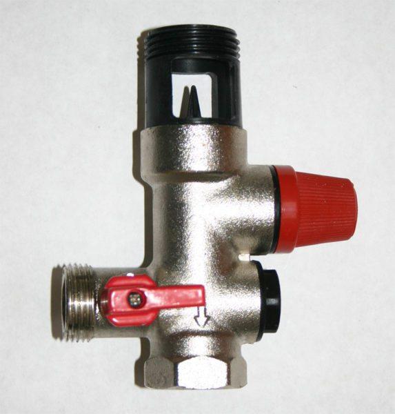 Группа безопасности для накопительного нагревателя — обратный и предохранительный клапаны в одном корпусе.