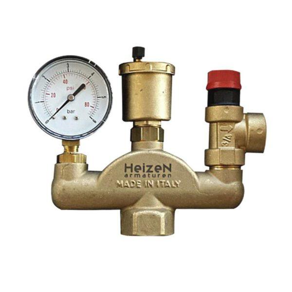 Группа безопасности для закрытой отопительной системы. Она исключает опасный рост давления при нагреве и сопутствующем расширении теплоносителя.