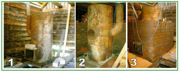 Металлические котлы можно окультурить, обложив агрегат облицовочным кирпичом.