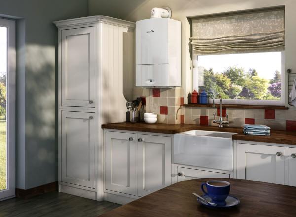 На фото – двухконтурный котел в интерьере кухни.