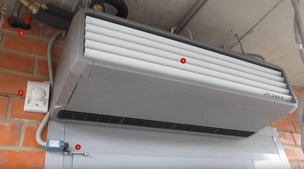 На фото: 1 — трубы, подключенные к отопительной системе, 2 — блок управления температурой и скоростью вентилятора, 3 — датчик открывания двери, 4 — жалюзи забора воздуха.