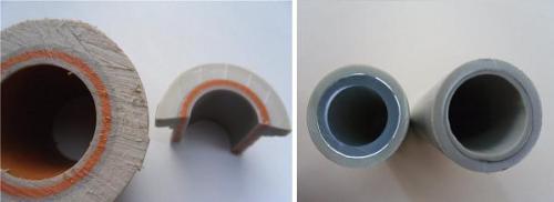 На фото мы видим срез армированной трубы: стекловолокном (слева) и алюминием (справа).