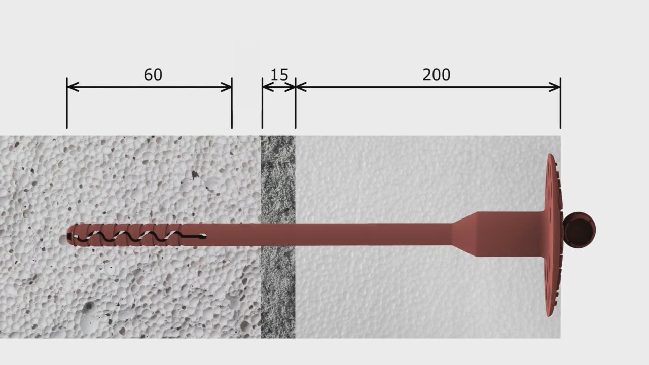 грибки для крепления пенопласта размеры