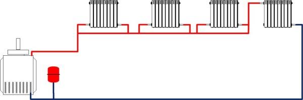 Однотрубная горизонтальная схема.
