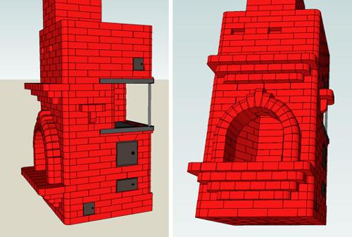 Отопительно-варочная печь+камин проекта И. В. Кузнецова