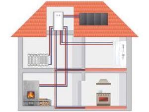 поэтажная  двухтрубная система отопления двухэтажного частного дома
