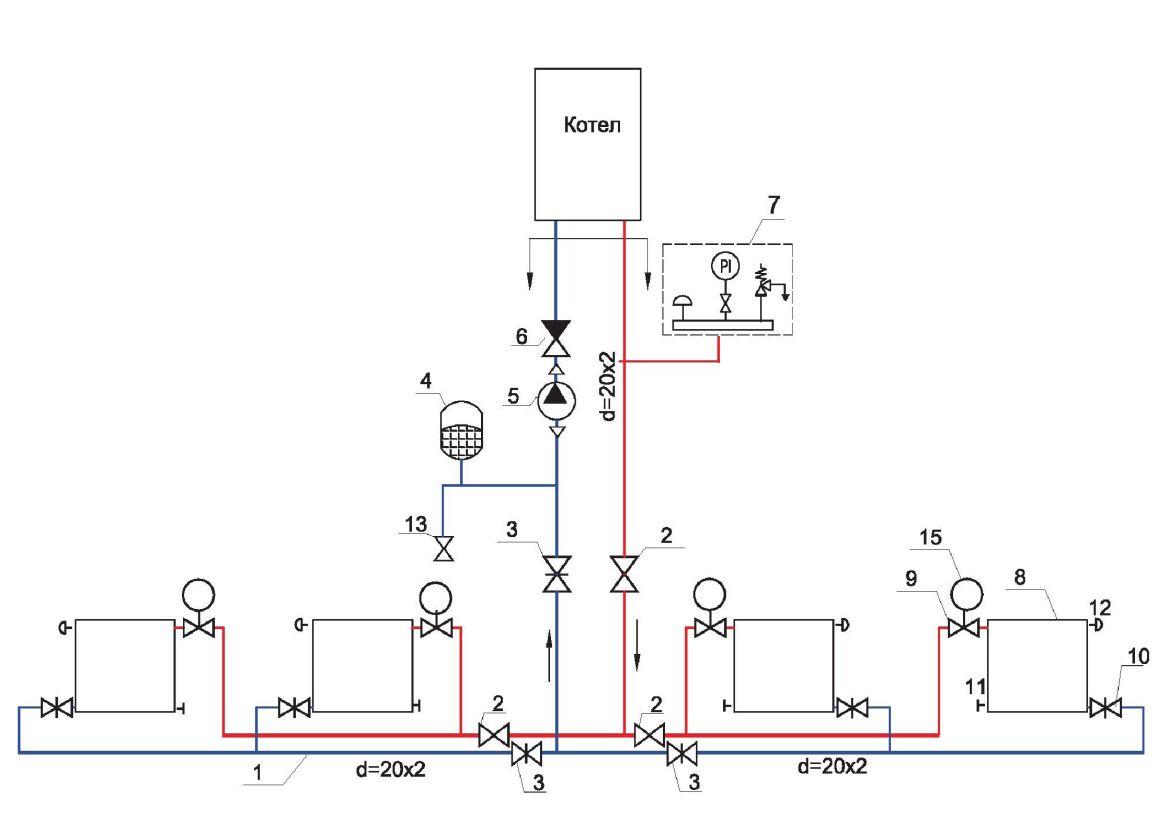 Индивидуальное отопление в квартире схема 864