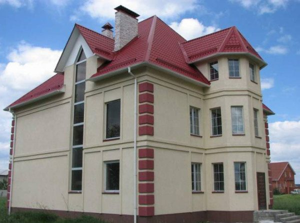 Пример отделки дома по технологии мокрый фасад