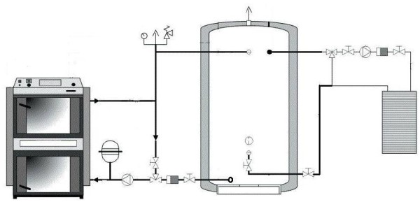 Принципиальная схема системы отопления с теплоаккумулятором.