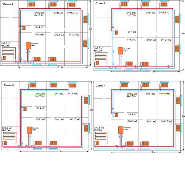 Проект системы отопления загородного дома потребует подробного поэтажного плана всей системы с указанием размеров, допусков и посадок