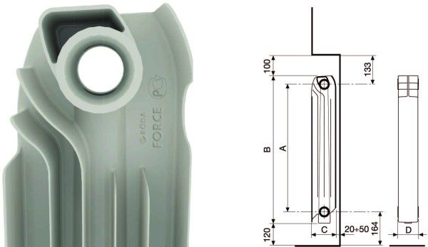 Расположение батареи в подоконной нише. Зазоры между радиатором, стеной, подоконником и полом обеспечивают свободное движение конвекционных потоков.