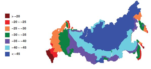 Распределение температур самых холодных пятидневок зимы по территории РФ.