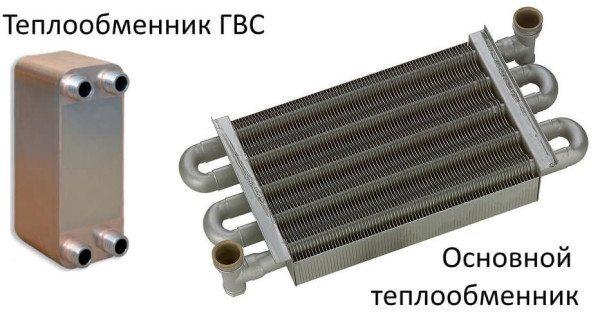 Раздельные теплообменники двухконтурного газового котла.