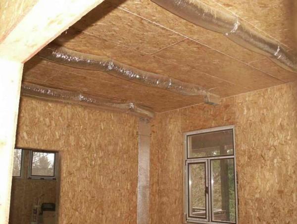 Рукава воздушного отопления на фото будут скрыты подвесным потолком.