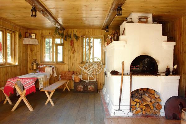 Русская печь в загородном доме