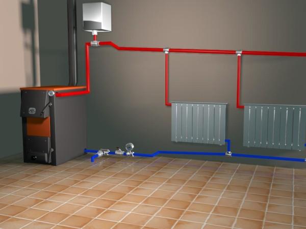 Схема отопления дома, с твердотопливным котлом