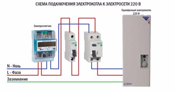 Схема подключения однофазного котла через автомат и УЗО.