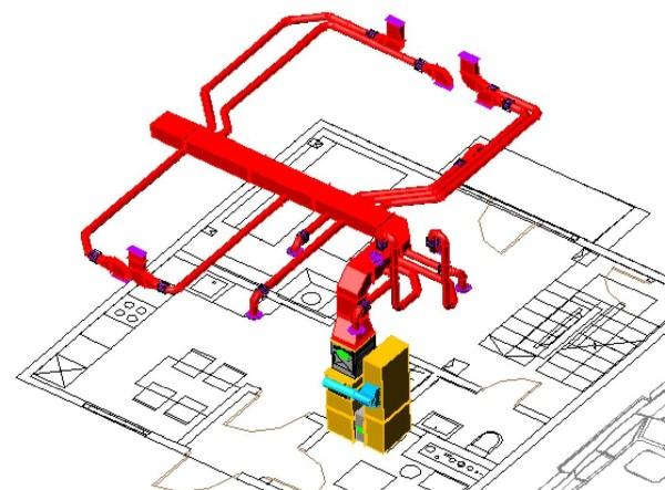 Схема распределения воздуховодов в частном доме