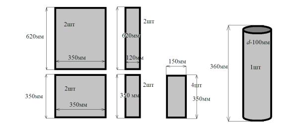 Схема с размерами и количеством деталей