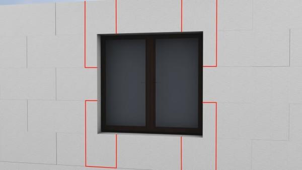 Схема укладки плит утеплителя на участке оконного проема