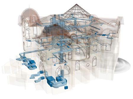 Схема вентиляции с различными устройствами и датчиками для загородного дома