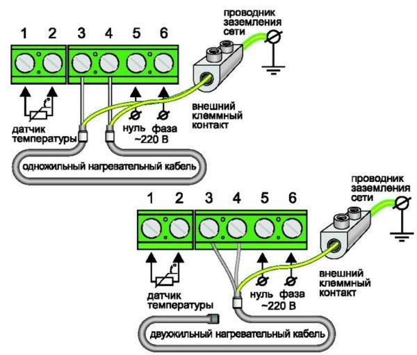 Схемы подключения разных типов нагревателей к терморегулятору