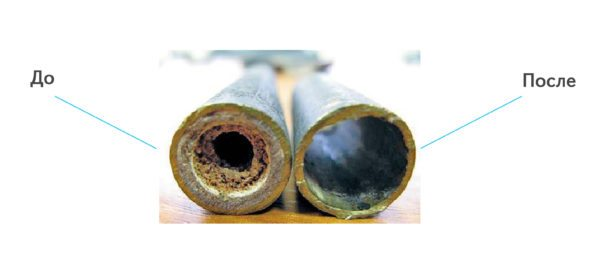 Сравнение трубы с обычной водой, и трубы после прочистки и заливки спиртового антифриза