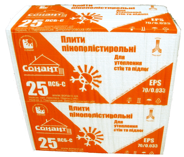 Стандартная упаковка пенопласта ПСБ-С марки 25, в ней 1 кубометр материала.