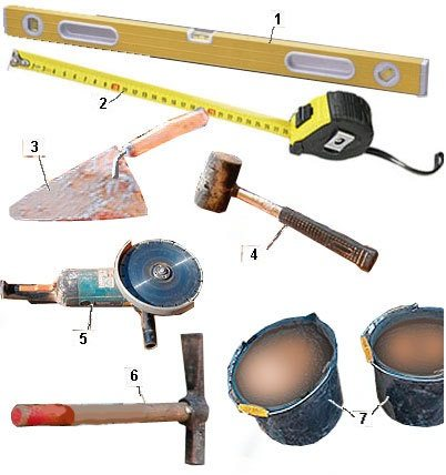 Стандартный набор инструмента каменщика.