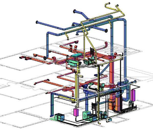 Трехмерная компьютерная модель разводки обогрева и вентиляции