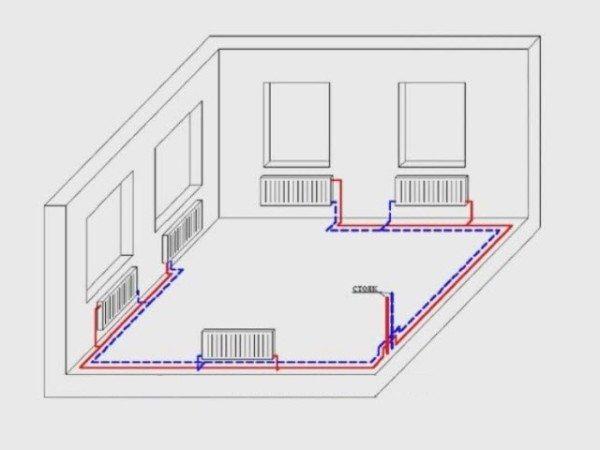 Тупиковая двухтрубная разводка в квартире-студии.