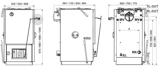 Твердотопливный котёл Bosch. Схематичное изображение