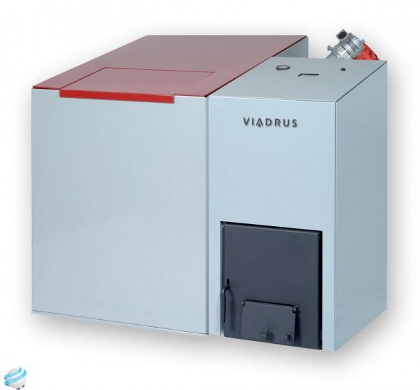 Твердотопливный котел Виадрус способен обеспечить нагревлюбого количества воды через пристыковываемые рядом емкости