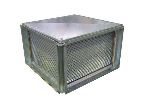 У перекрестного теплообменника самая простая конструкция — стопка пластин в жестяном коробе.