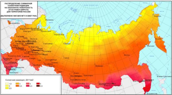 Уровень инсоляции для разных областей России.