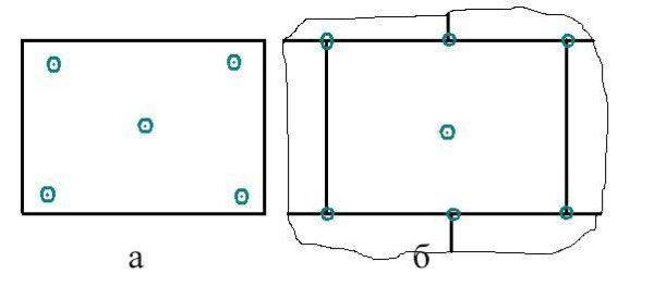 Варианты расположения дюбелей в пенопласте