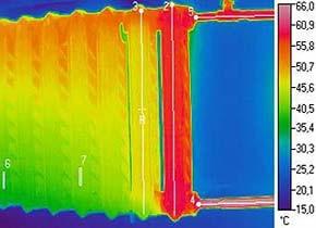 Здесь очень наглядно показана неравномерность нагрева радиатора