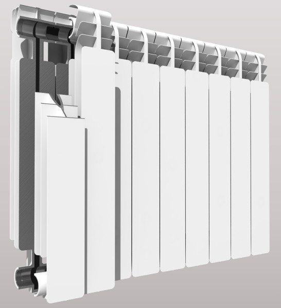 Биметаллический радиатор: прочный стальной сердечник окружен оболочкой с оребрением из обладающего высокой теплопроводностью алюминия.