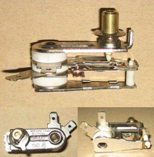 Биметаллический выключатель с регулировкой температуры срабатывания.