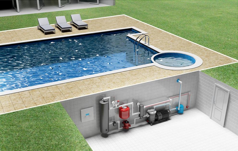 дом или воду в бассейне