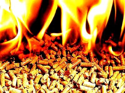 Горение твердых гранул с выделением тепла.