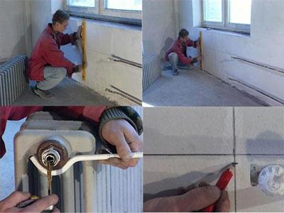 Графически отражены действия при монтаже радиаторов.