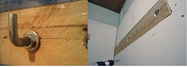 Крепление массивного бойлера на легкую перегородку: шпильки проходят насквозь через деревянные закладные.