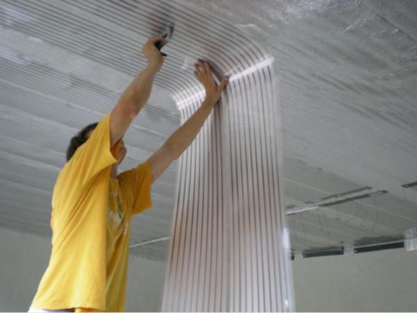Монтаж инфракрасного плёночного отопления (ИПО) на потолок