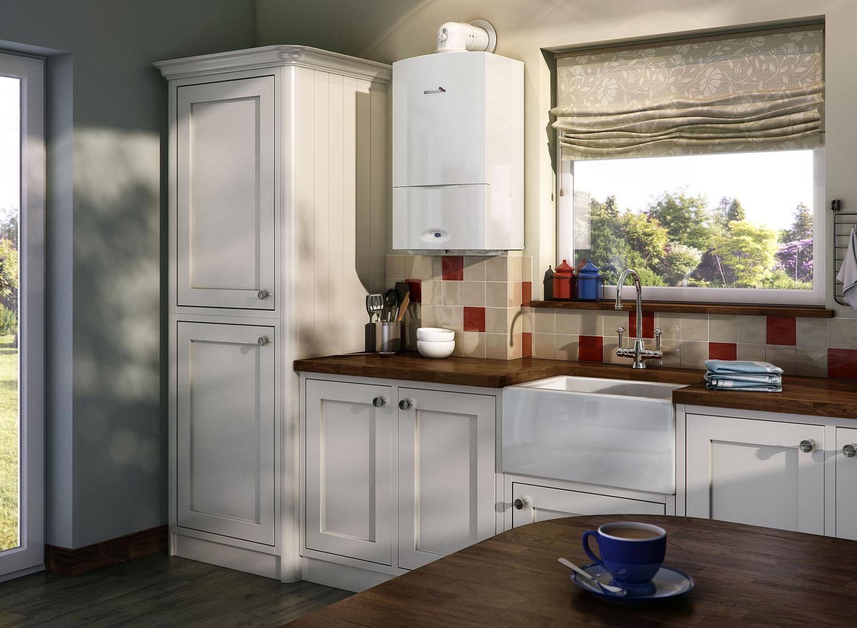 Газовый котёл в интерьере кухни фото